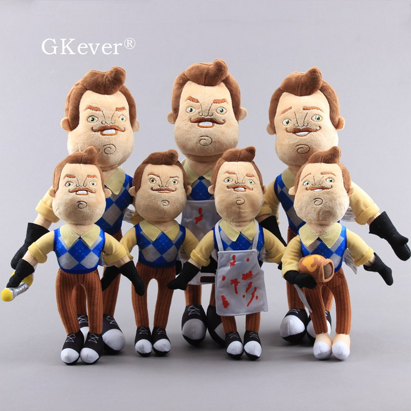 30 Cm And 40 Cm Hello Neighbor Plush Toys The Neighbor Apron & Cleaver & Coffee Soft Stuffed Doll Peluche Baby Kid Birthday Gift
