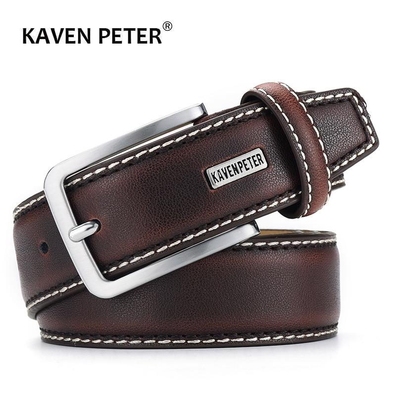 Fashion Men Belts Genuine Leather Luxury Designer Brown Vintage Waist Belt For Jeans Cinturon Cowboy Hombre Dropshipping