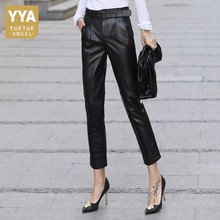 Harem-Pants Wmen Pantalones Office Genuine-Leather Casual Fashion Ladies BELTED Sheepskin