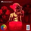 Новейший 3d ночной Светильник, цельная обезьянка D Luffy, светодиодный Ночной светильник с изменением цвета, питание от Usb, питание от батареи, д...
