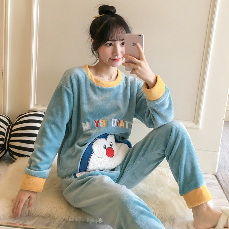 Plus Size 3XL 4XL 5XL 85kg Sleepwear Set Long Sleeve Warm Flannel Pajamas For Women Winter Print Thicken Loose Leisure Outwear