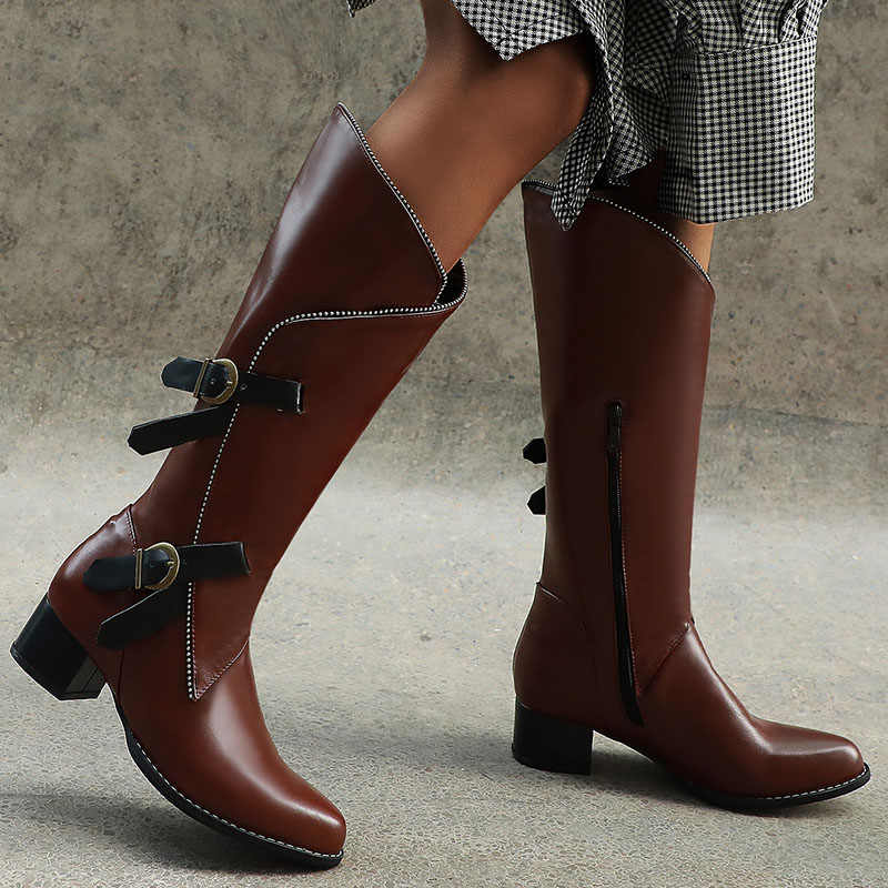Ladies Knee High Boots Women Block Heel Zip Winter Calf Buckle Riding Shoes Size