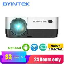 Byintk جهاز عرض صغير K7 ، 1280x720P ، الذكية أندرويد واي فاي فيديو متعاطي المخدرات ؛ المحمولة LED Proyector لكامل 1080P ثلاثية الأبعاد 4K السينما ، وأحدث