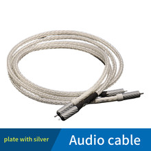 1pair RCA terminal of 16 core silver plated copper wire braided hifi audio cable