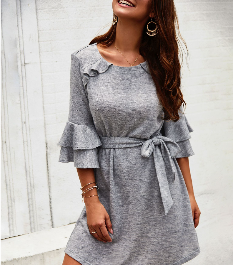 2019 autumn and winter new best selling solid color <font><b>dress</b></font> European and American women's cropped sleeves round neck <font><b>dress</b></font> image