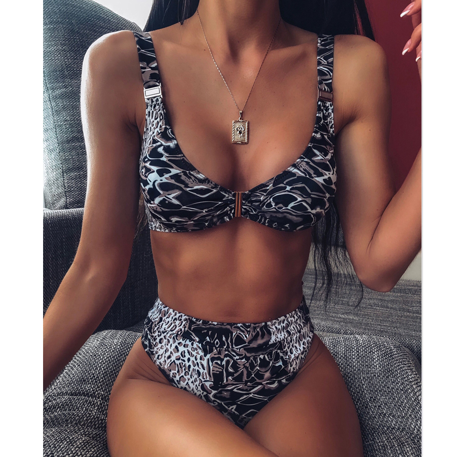 Snakeskin High Waist Bikini Set Swimwear Women Sexy Swimsuit Push Up Biquini Feminino Micro Bikinis 2019 Mini Femme Bathing Suit