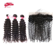Ali Queen Hair Bundles With Frontal Deep Wave Brazilian Unprocessed Virgin Human 130% 13x4 Lace Closure Free Part Natural Color(China)