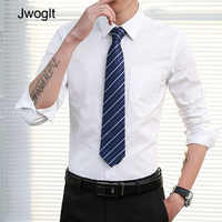 Spring Autumn Men Fashion Casual Long Sleeve Solid Color Shirts Regular-Fit Male Social Work Business White Dress Shirt