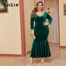 SHEIN Plus Size Lace Trim Fishtail Hem Bodycon Velvet Dress Women Autumn Long Sleeve Party Glamorous Bodycon Maxi Dresses