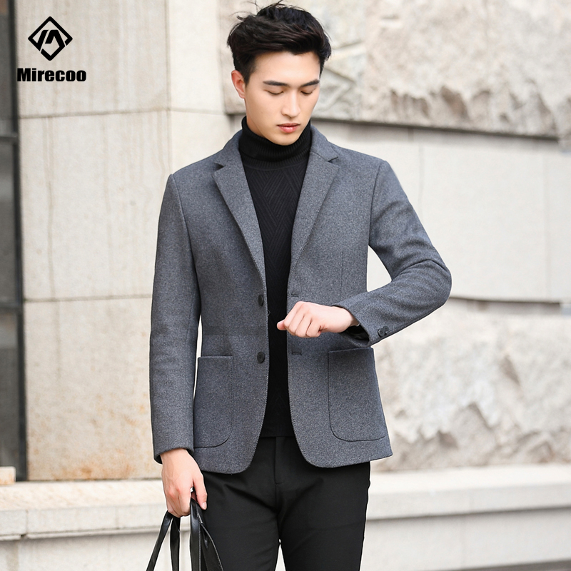 Fashion Men's Wool Coat Winter Turn-down Collar Solid Soft Trench Jacket Male Single-Breasted Business Casual Overcoat Parka