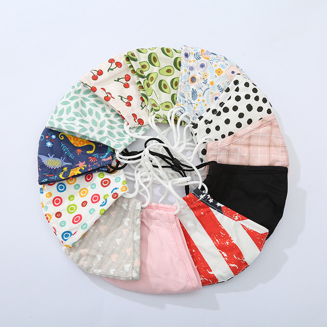 Spot 1 Face Mask 1 Filter Fashion Printed Children's Mask Dust and Haze Proof Cloth Mask Hanging Ear Washable