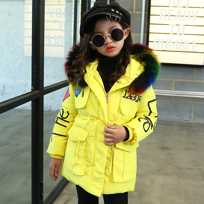Toddler Yellow Winter Jackets Childrens Color Fur Hooded Cotton Parkas Outwear Coats Overalls for Girls 3 6 8 10 14 Year
