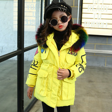 Toddler Yellow Winter Jackets Children's Color Fur Hooded Cotton Parkas Outwear Coats Winter Overalls for Girls 3 6 8 10 14 Year reima jackets 8689577 for girls polyester winter fur clothes girl