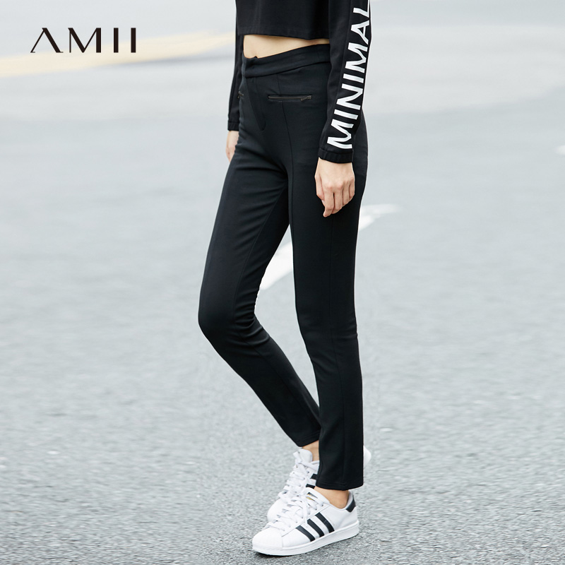 Amii Minimalism Spring Summer Casual Slim Trousers Women High Waist Elastic Solid Pant 11744535