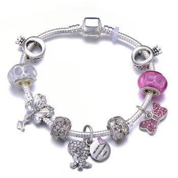 Cute Mickey Mouse Themed Bracelet Bracelets Jewelry New Arrivals Women Jewelry Metal Color: 17 Length: 18cm