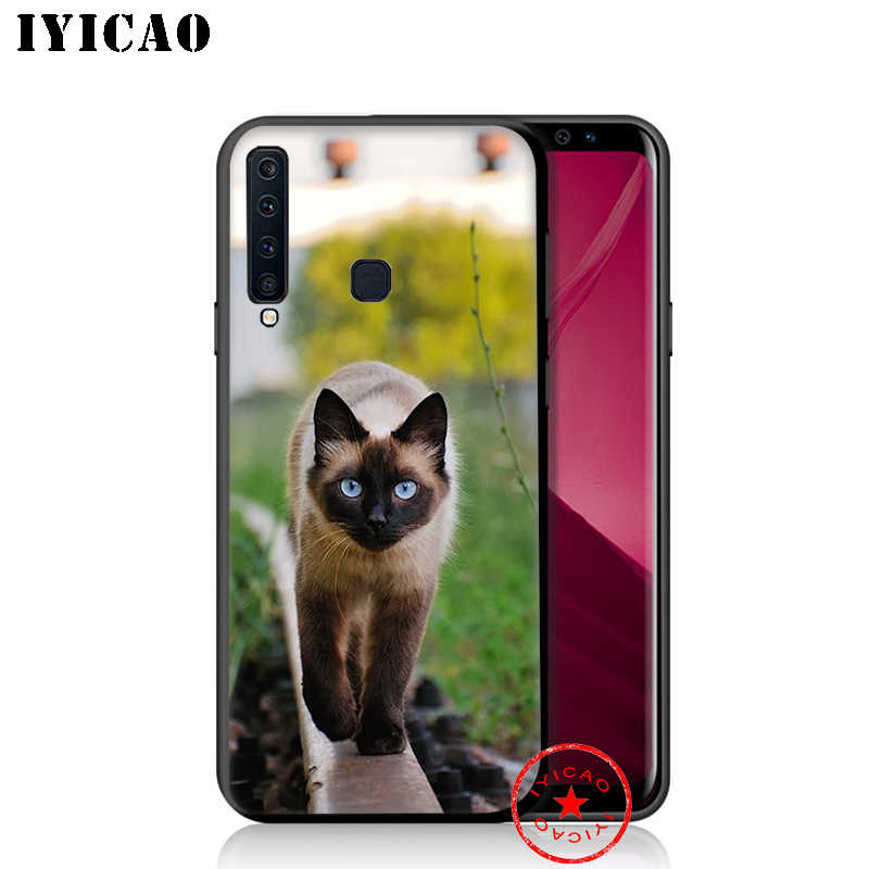 IYICAO Cute Siamese Cat Soft Phone Case for Samsung Galaxy A9 A8 A7 J6 A6 Plus 2018 A5 A3 2016 2017 Silicone Cover