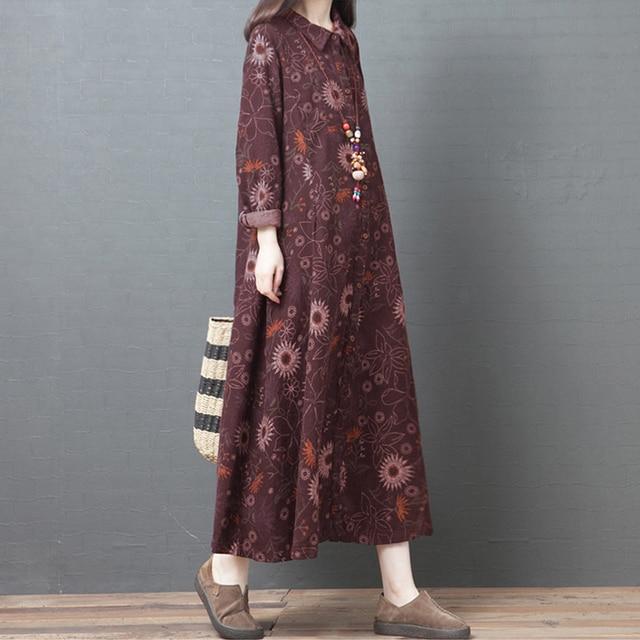 NYFS 2020 New Autumn Woman Dress Loose Vintage Cotton Printing  long Dress vestido de mujer Robe Elbise women's dress 2