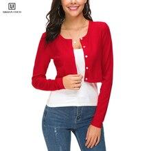 Urban CoCo Женский Повседневный Укороченный кардиган на пуговицах с круглым вырезом, вязаный женский свитер с длинным рукавом