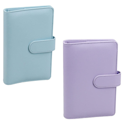 A6 PU Leather Notebook Binder with netic Buckle,Refillable 6 Round Ring Binder Cover for A6 Filler Paper