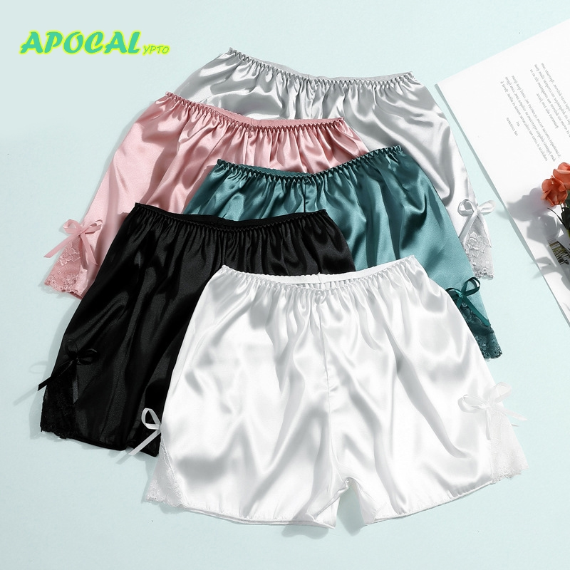 APOCAL Silk Lace Shorts Underwear Women Panties Safety Short Pants Summer Knicker Shorts Under Skirt Boxer Satin Briefs Shorty