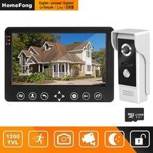 HomeFong 비디오 인터콤 7 인치 HD 유선 비디오 도어 폰 카메라 지원 IR 야간 투시경 모션 센서 초인종 홈 보안