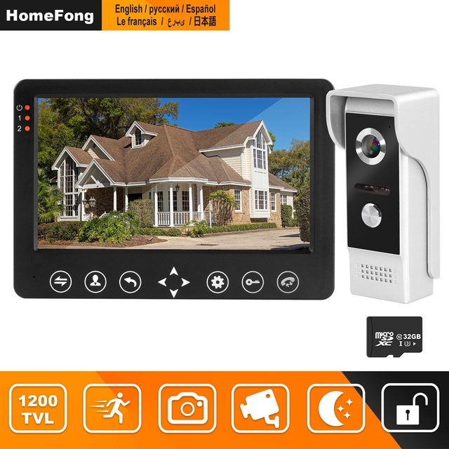HomeFong video intercom 7 inch HD Wired video door phone Camera Support IR Night Vision motion sensor Doorbell for Home Security