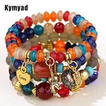 Kymyad doce cor multicamadas boemia pulseiras resina contas de pedra pulseiras para mulheres bijoux coruja charme pulseira femme jóias