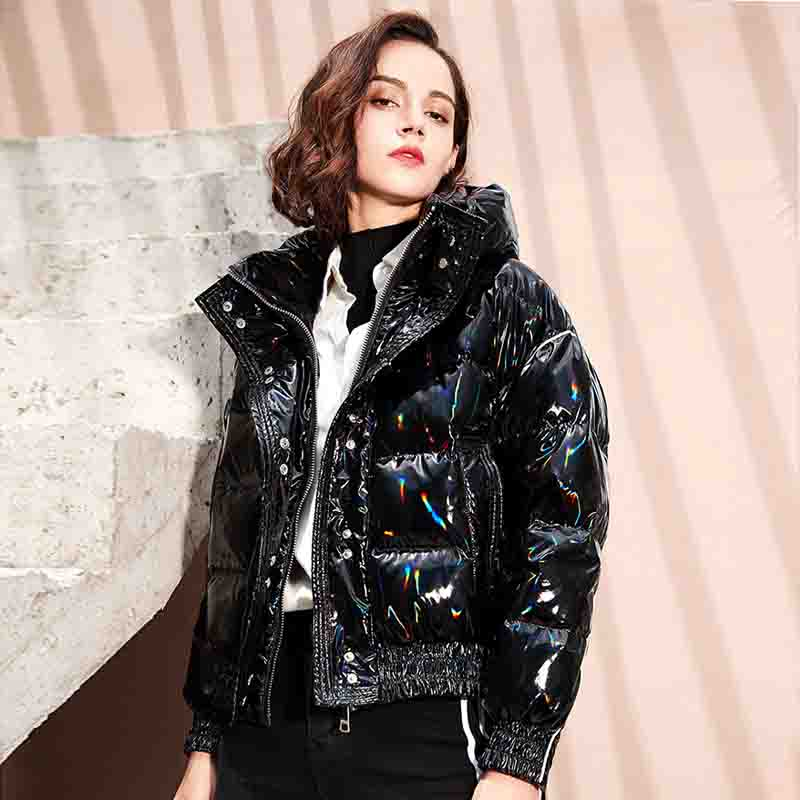 Winter Down Coat Women Hooded 90% White Duck Down Jacket Loose Short Female Parka Glossy Waterproof Thick Warm Women's Clothing