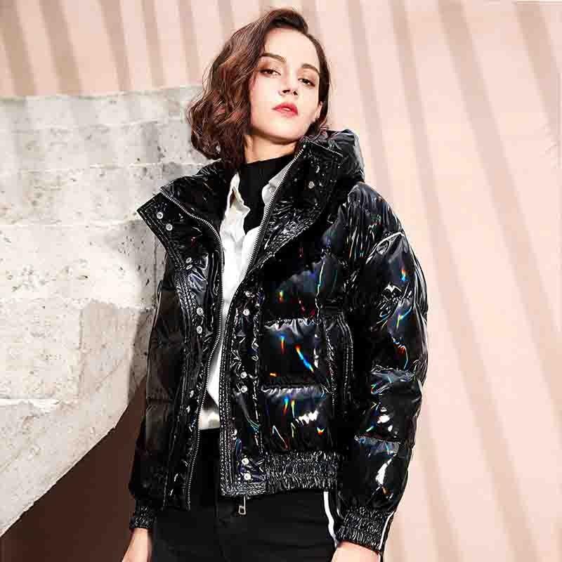 Winter   Down     Coat   Women Hooded 90% White Duck   Down   Jacket Loose Short Female Parka Glossy Waterproof Thick Warm Women's Clothing