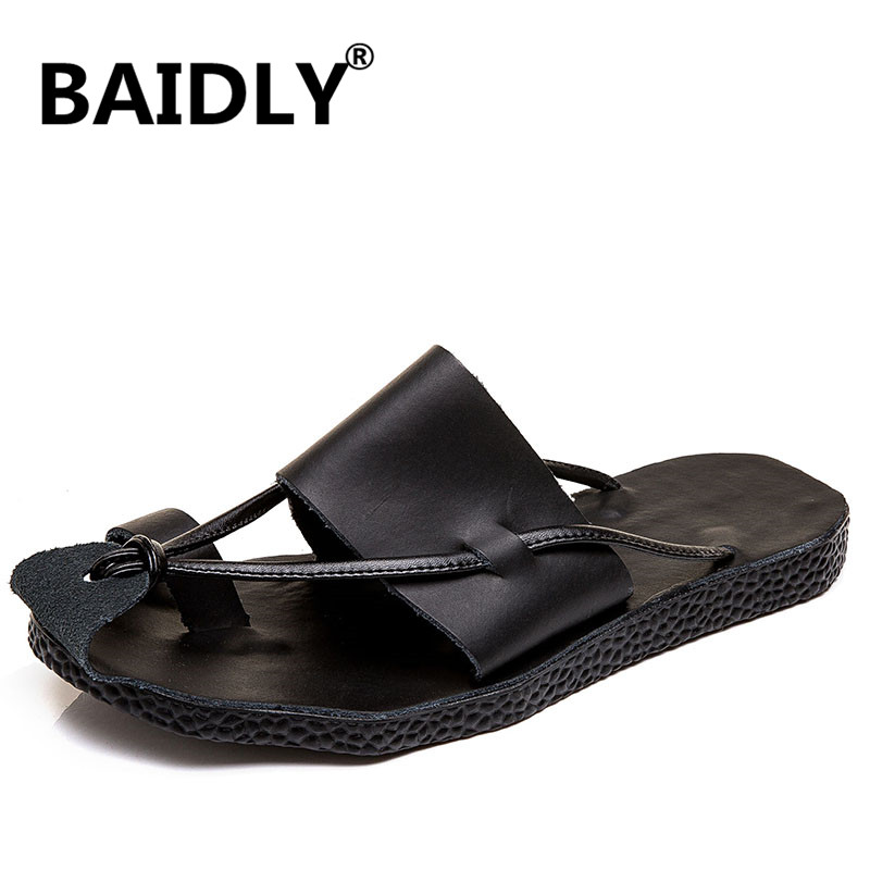New Men/'s Casual Sandals Summer Leather Beach Outdoor Shoes Closed Toe Slippers