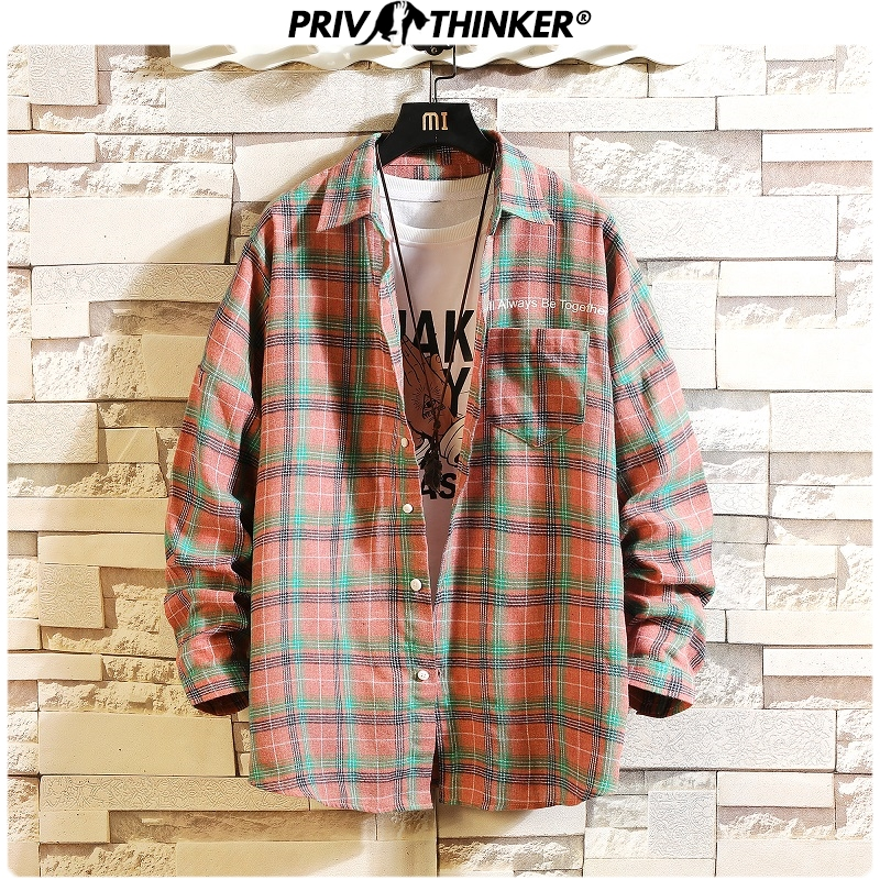 Privathinker Casual Men Plaid Shirt Spring Autumn Shirts Mens Loose Shirts Fashion Long Sleeve Slim Fit Cotton Male Shirt 2019