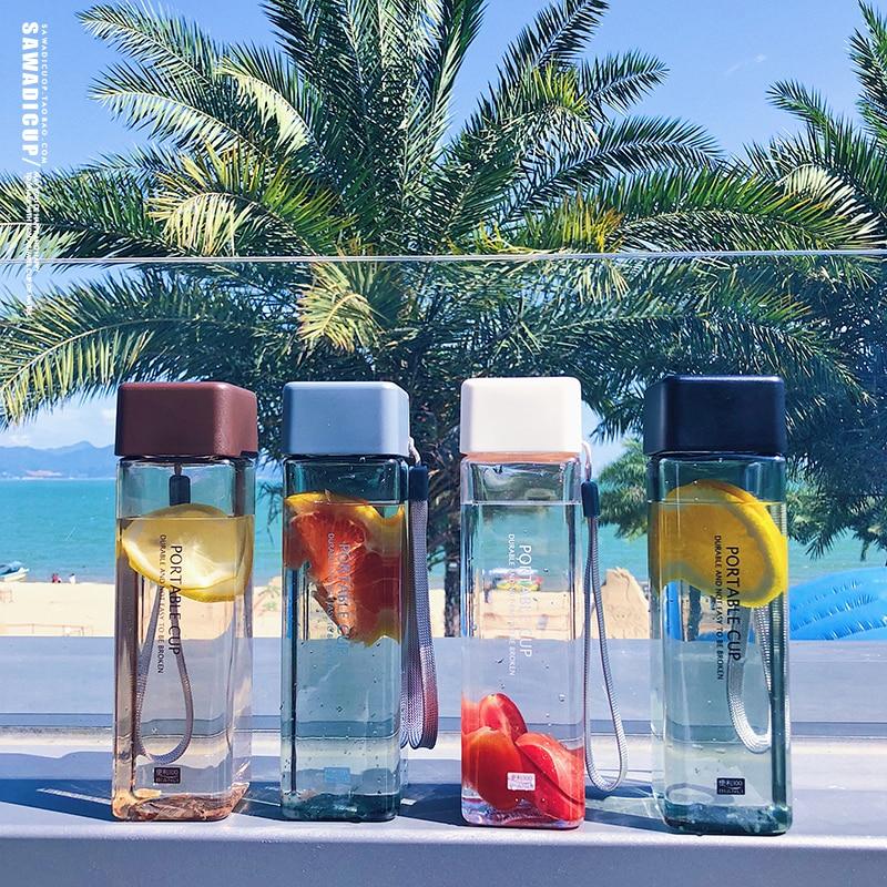 New Square Frosted Plastic Water Bottle Portable Transparent Bottle Fruit Juice