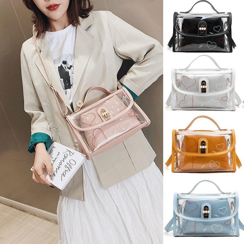 Fashion Women Transparent Handbag Beach Bag Clear Jelly Purse Clutch PVC PU Tote