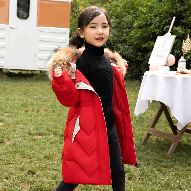 ULKNN-30 Dergees russie hiver filles manteau épaissir chaud Long doudoune pour fille 5-14 ans enfants adolescent Parka vêtements d'extérieur pour enfants