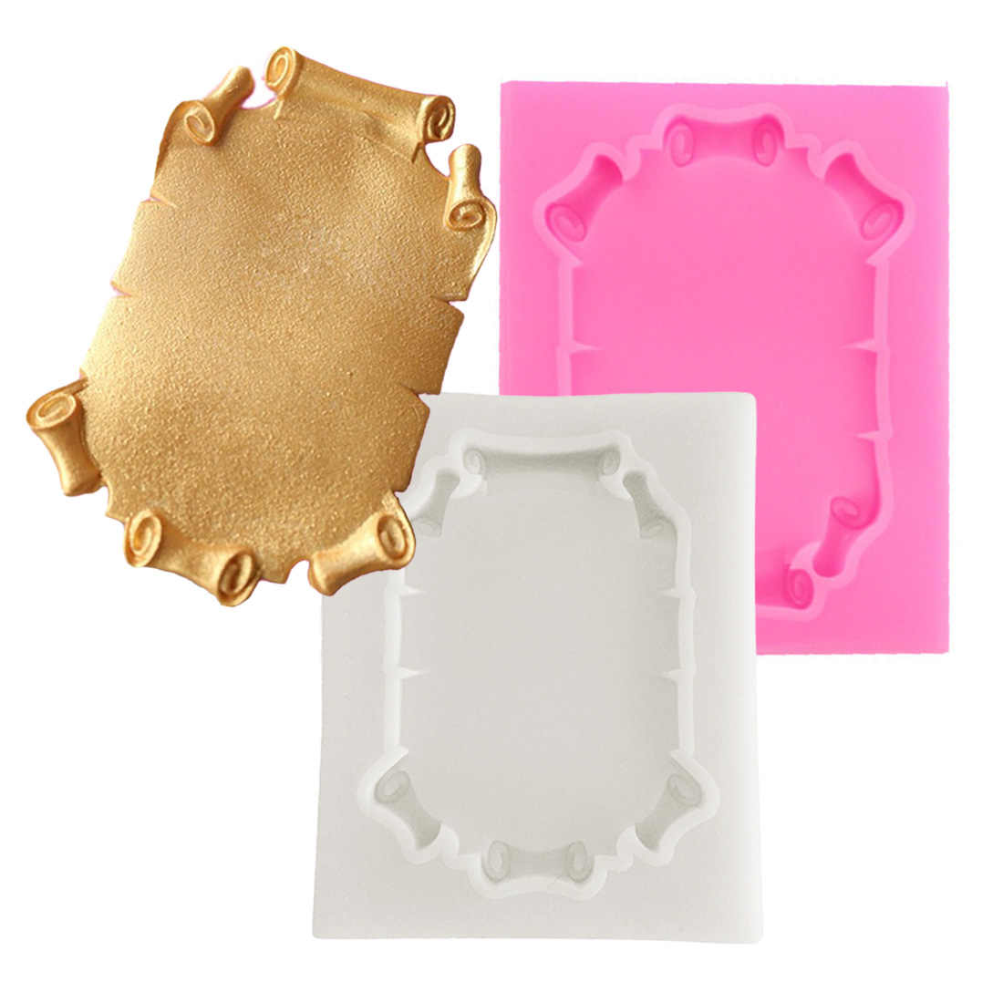1pcs Retro Border Frame Cake Silicone Molds DIY Cupcake Fondant Cake Decorating Tools Candy Clay Chocolate Gumpaste Moulds