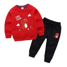 Одежда для маленьких мальчиков с динозавром осенний Новый спортивный