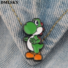 DMLSKY Super Mario Dinosaur Cartoon Pins Enamel and Brooches Women Men Lapel Pin Backpack Badge Hat Jewelry M3798