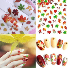 1 Sheet Nail Designs 3D DIY Sticker Nails Charm Nail Art Sticker Gold Yellow Maple leaves Thin Adhesive Decor Manicure Slice 3d nail art fimo soft polymer clay fruit slices cartoon for nail manicure sticker cell phones diy designs wheel decoration czp35