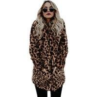 women faux fur coat Autumn winter warm plush teddy coat Long leopard print Luxury Fake Fur Jacket Fur Coat Jackets Plus Size 4XL