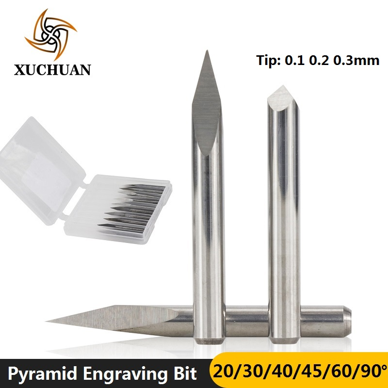 10pcs 3.175mm Shank 3 Edge PCB Engraving Bit Set  20/30/40/45/60/90 Degrees Tip 0.1 0.2 0.3mm Pyramid CNC Router Bit 3D Milling