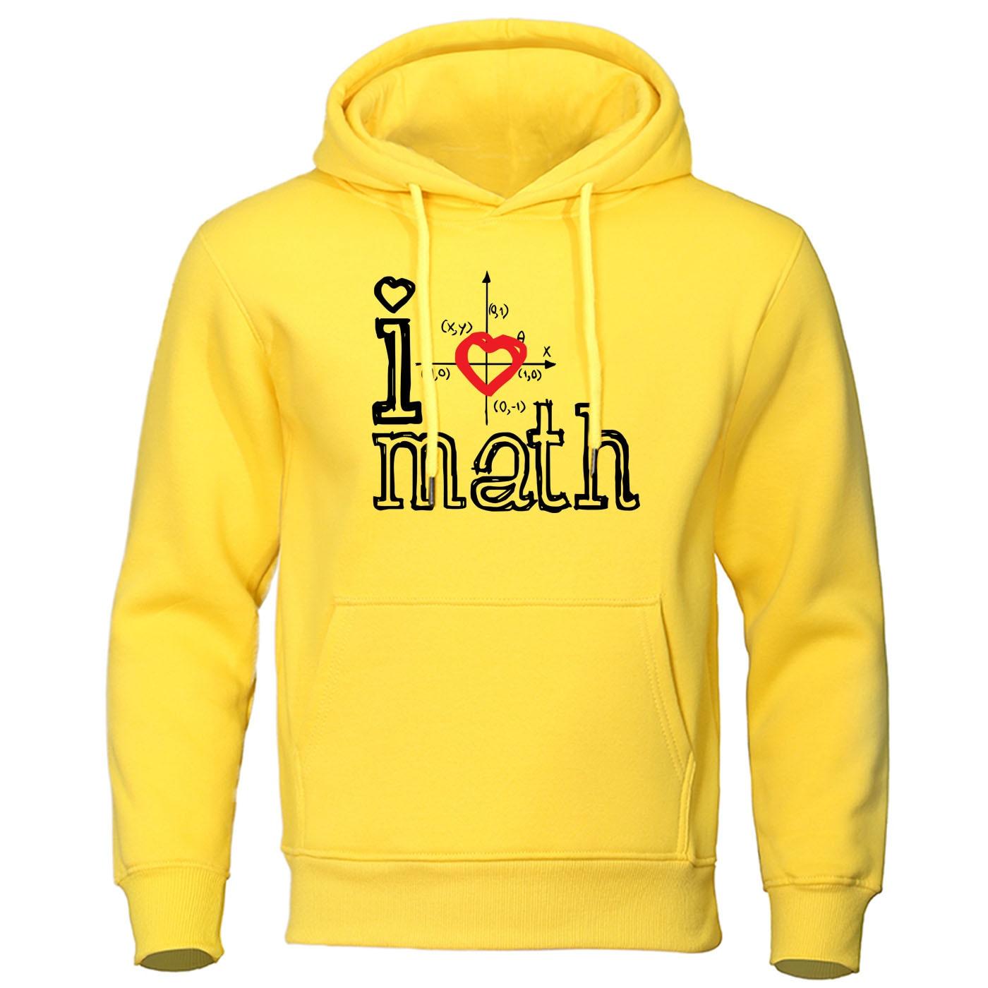 I Love Math Hoodie Loose Brand Clothing Creative Mathematical Hoodies Logo Print Pullover Autumn Warm Sweatshirt Mens Streetwear