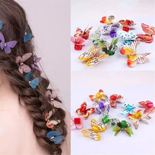 Hair-Extension-Ring Hollow-Ring Headdress Small 5-Psc-Color Butterfly-Set Embossed Diamond