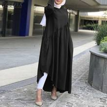 2020 Autumn Muslim Dress ZANZEA Women Long Sleeve Kaftan Vintage Casual Solid Long Maxi Vestidos Female Plus Size 5XL Islam Robe(China)