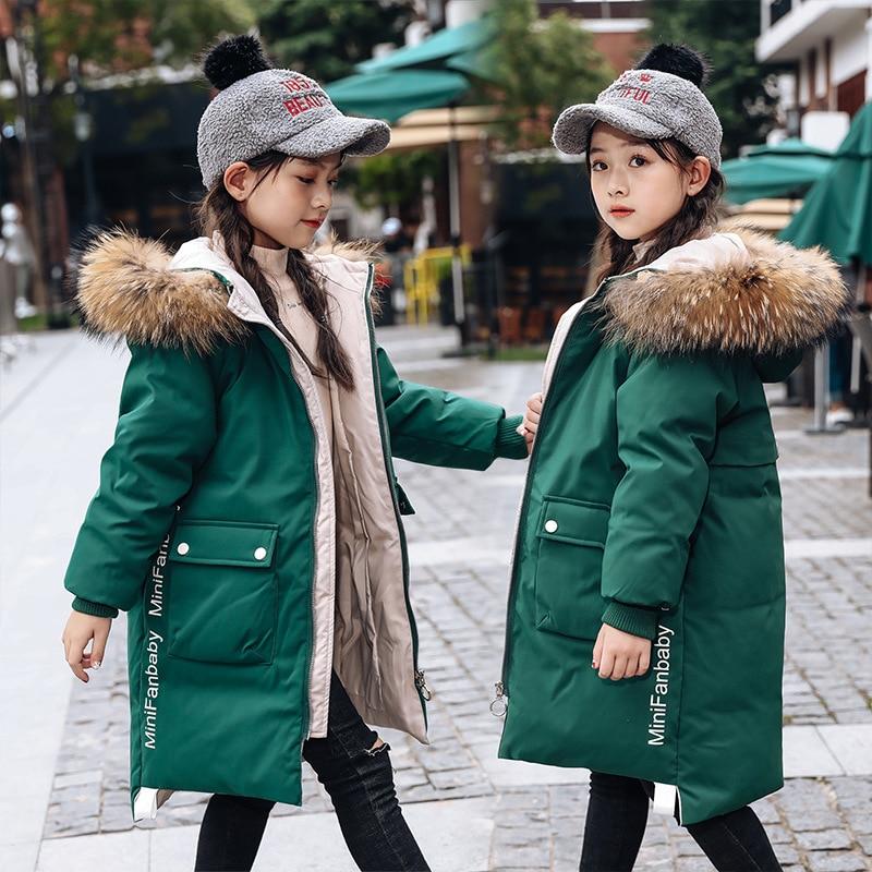 -30 degrés filles doudoune enfants épais naturel col de fourrure blanc canard vers le bas hiver manteau grands enfants à capuche chaud adolescent vêtements