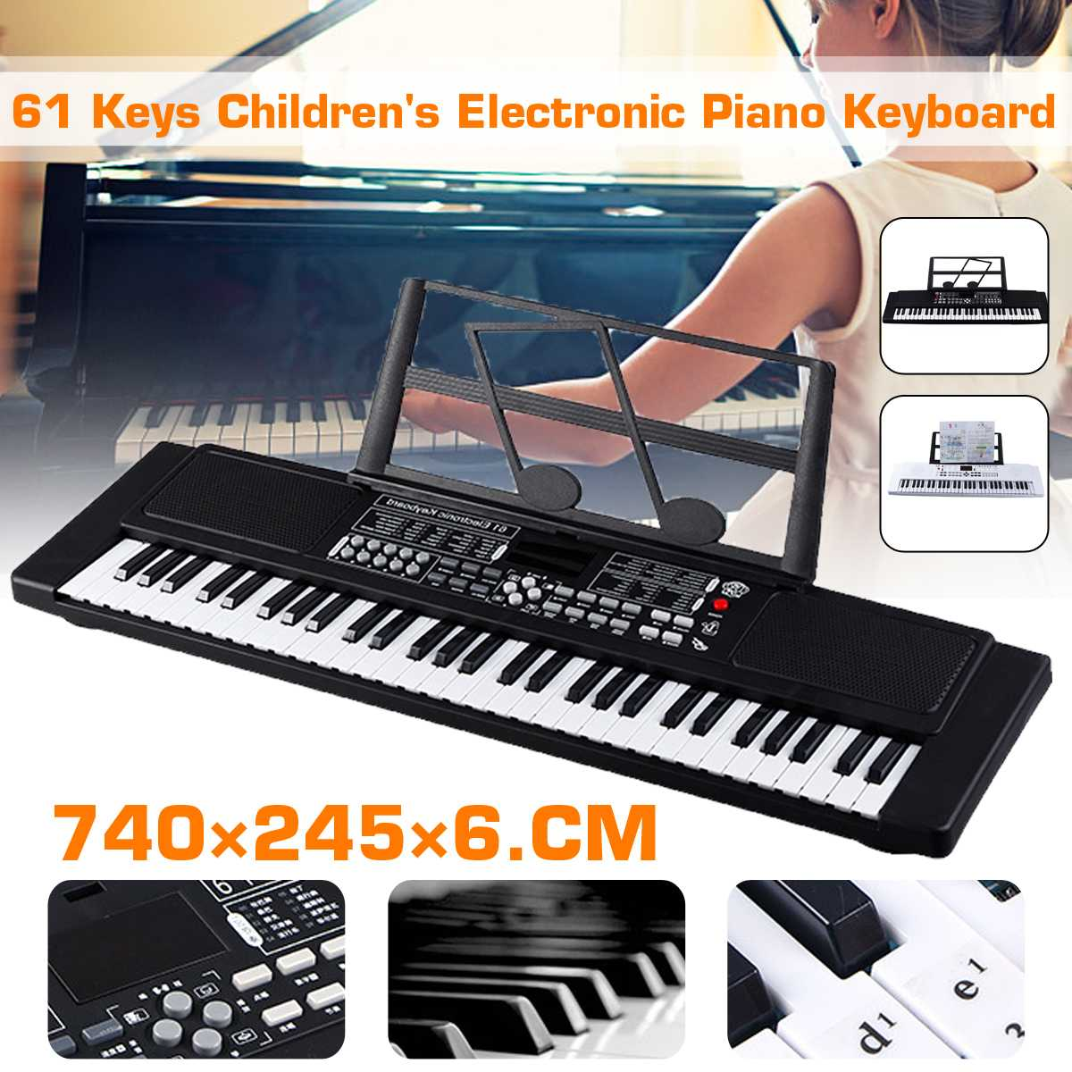 New 61 Key Music Electronic Keyboard Electric Digital Piano Organ With Microphone/music Stand Chirdren Gifts