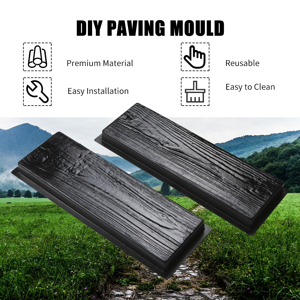 Simulation Of Wood Grain Wooden Boards Concrete Stone Mould Paving Mould Garden Stepping Stone Path Road Brick Mold Yard DIY