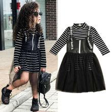 Модное платье для маленьких девочек, одежда Топы в полоску с длинными рукавами+ кружевной фатиновый комплект одежды с платьем, От 2 до 7 лет