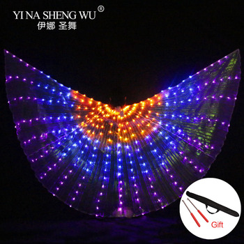 300pcs LED Beads Belly Dance LED Isis Wings with Adjustable Stick Stage Performance Props Unisex Shining Rainbow LED Dance Wings