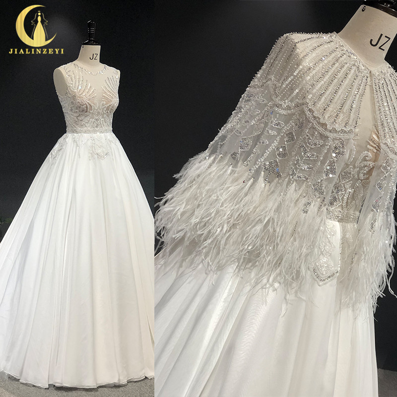 Rhine Real Pictures Zuhair Murad Two Pieces Cape With Feather Beads платье на выпускной Wedding Gown Wedding Dresses 2020
