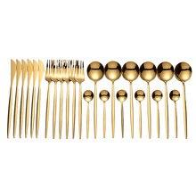 Lingeafey oro cubiertos 24 Uds tenedores cuchillos, cucharas cubiertos de acero inoxidable juego de cocina para el hogar vajilla Set de regalo vajilla